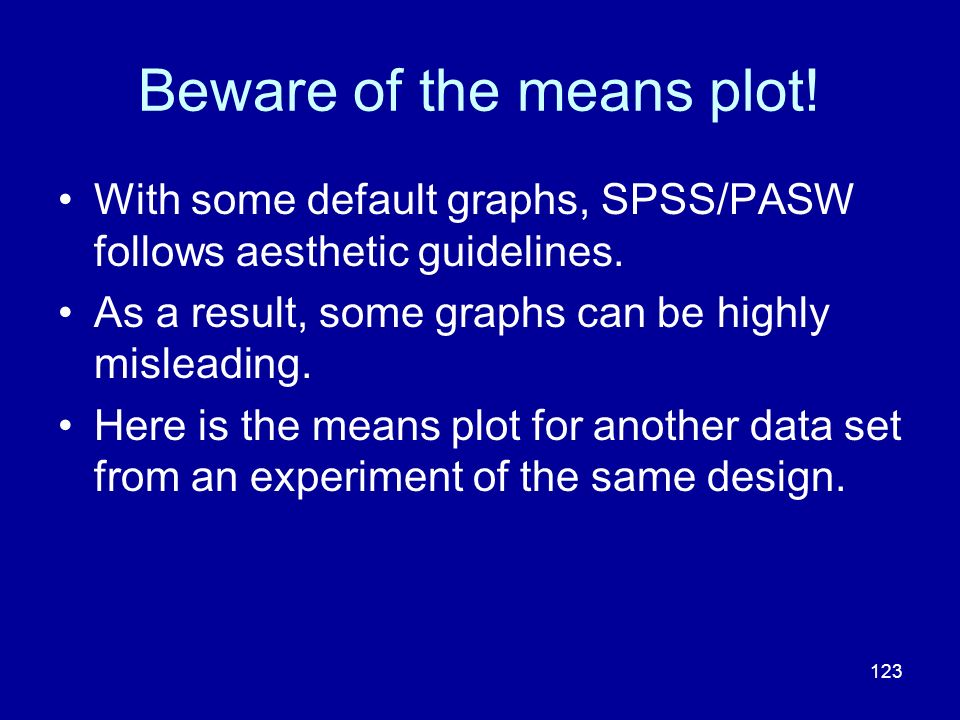 123 Beware of the means plot! With some default graphs, SPSS/PASW follows aesthetic guidelines. As a result, some graphs can be highly misleading. Her