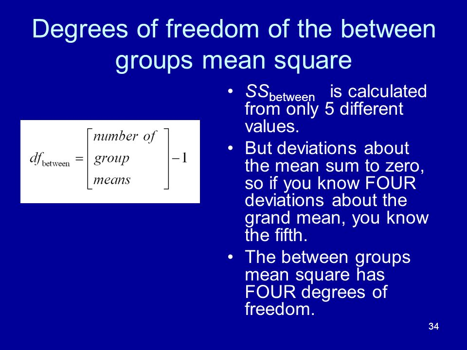 34 Degrees of freedom of the between groups mean square SS between is calculated from only 5 different values. But deviations about the mean sum to ze