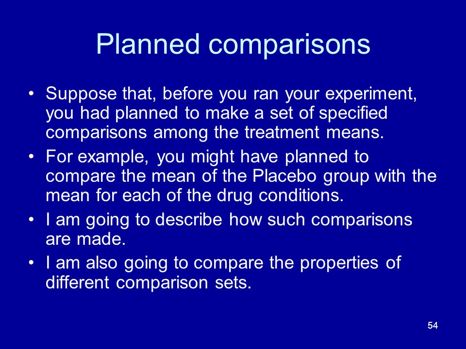 54 Planned comparisons Suppose that, before you ran your experiment, you had planned to make a set of specified comparisons among the treatment means.