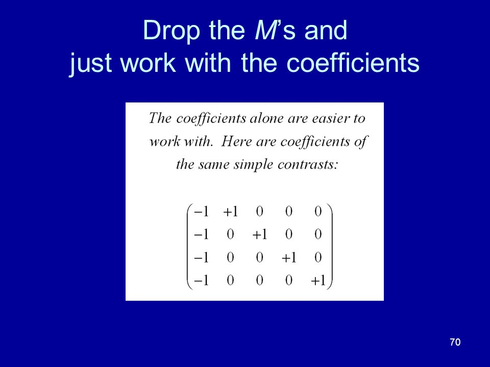 70 Drop the Ms and just work with the coefficients