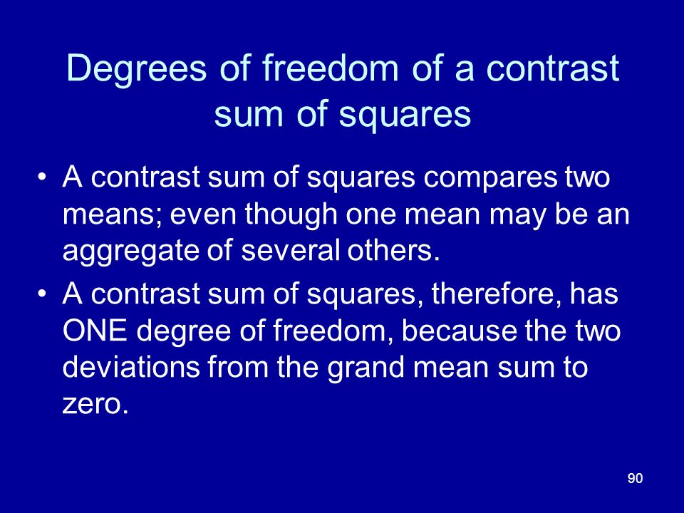 90 Degrees of freedom of a contrast sum of squares A contrast sum of squares compares two means; even though one mean may be an aggregate of several o