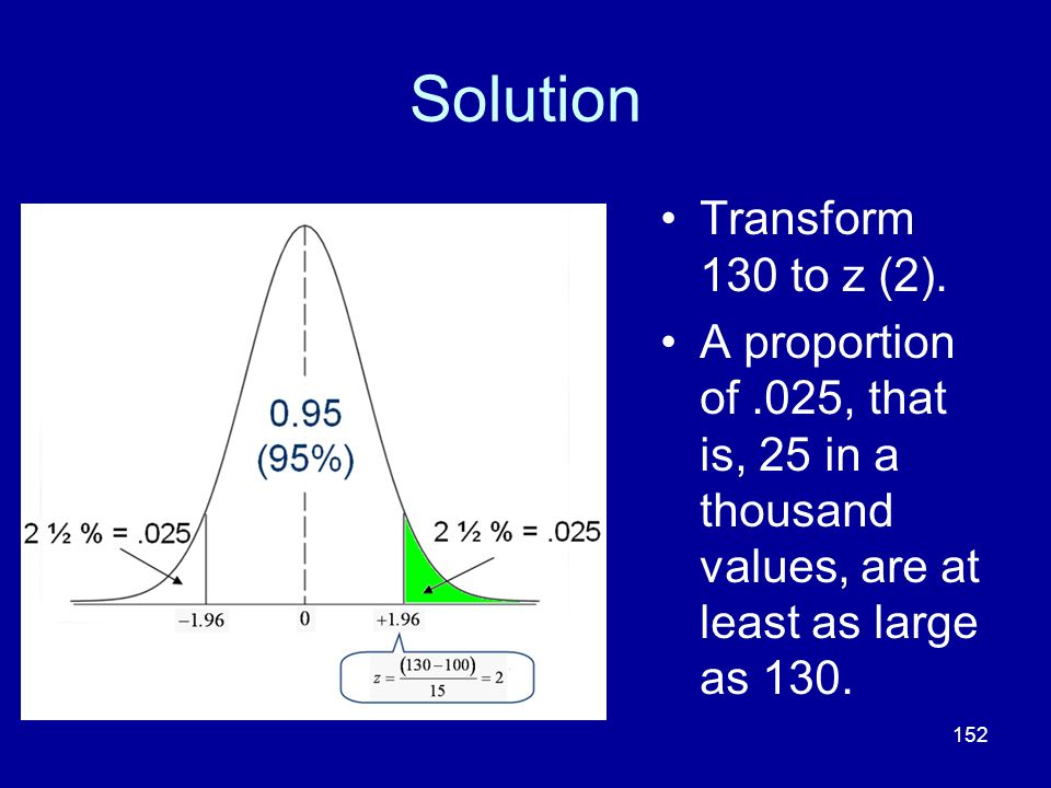 152 Solution Transform 130 to z (2). A proportion of.025, that is, 25 in a thousand values, are at least as large as 130.