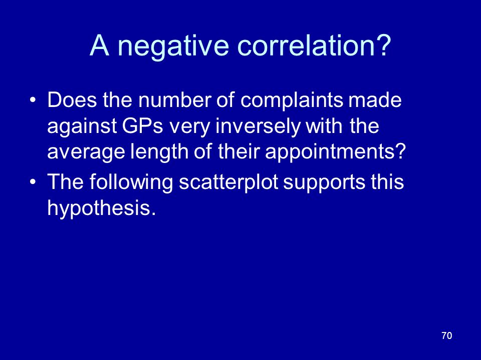 70 A negative correlation? Does the number of complaints made against GPs very inversely with the average length of their appointments? The following
