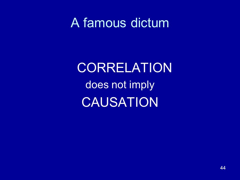 44 A famous dictum CORRELATION does not imply CAUSATION