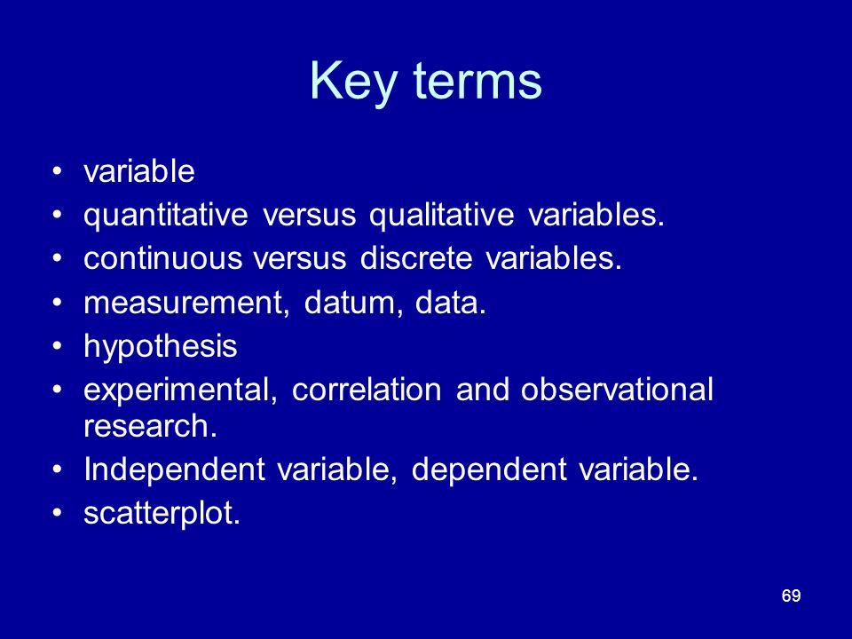 69 Key terms variable quantitative versus qualitative variables. continuous versus discrete variables. measurement, datum, data. hypothesis experiment