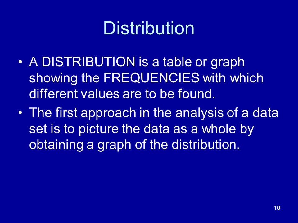 10 Distribution A DISTRIBUTION is a table or graph showing the FREQUENCIES with which different values are to be found. The first approach in the anal