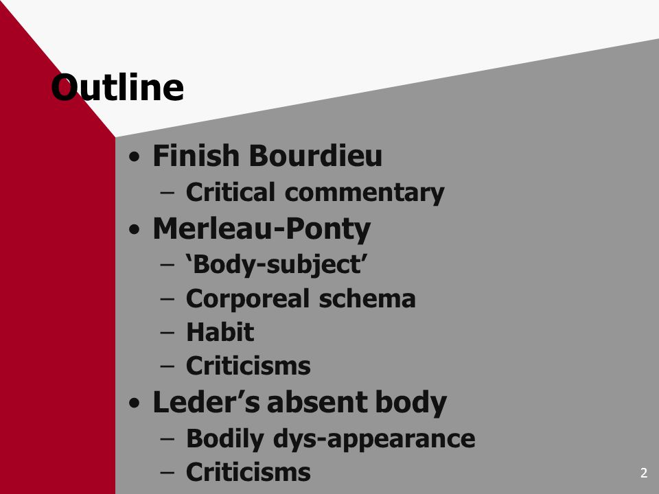 2 Outline Finish Bourdieu –Critical commentary Merleau-Ponty –Body-subject –Corporeal schema –Habit –Criticisms Leders absent body –Bodily dys-appearance –Criticisms