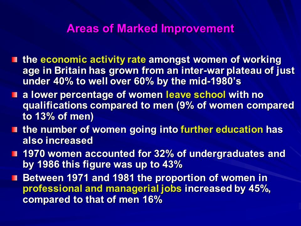 Areas of Marked Improvement the economic activity rate amongst women of working age in Britain has grown from an inter-war plateau of just under 40% to well over 60% by the mid-1980s a lower percentage of women leave school with no qualifications compared to men (9% of women compared to 13% of men) the number of women going into further education has also increased 1970 women accounted for 32% of undergraduates and by 1986 this figure was up to 43% Between 1971 and 1981 the proportion of women in professional and managerial jobs increased by 45%, compared to that of men 16%