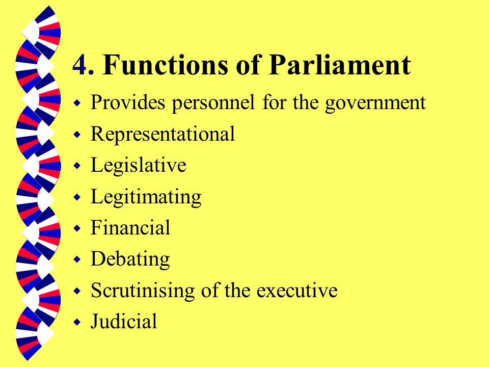 3. Implications of Parliamentary Sovereignty w Courts can only interpret Act of Parliament w Parliament cannot bind its successor w Parliament can pas