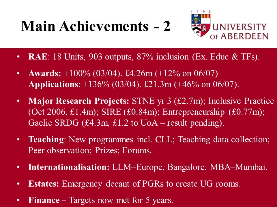 Main Achievements - 2 RAE: 18 Units, 903 outputs, 87% inclusion (Ex.