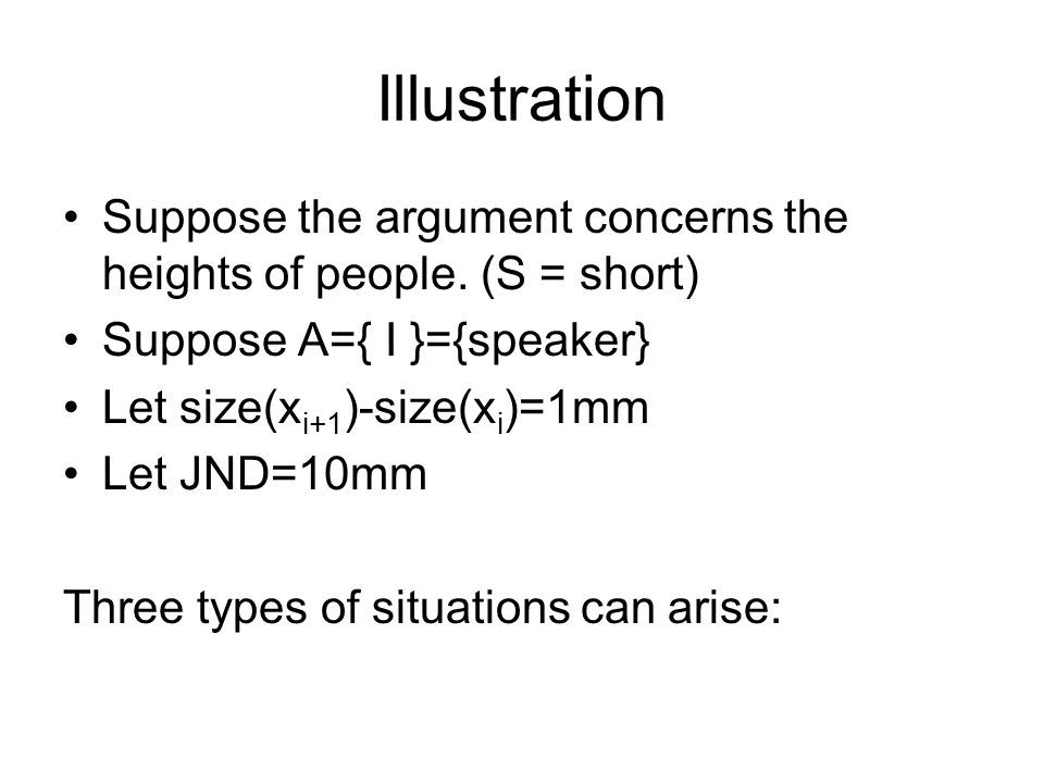 Illustration Suppose the argument concerns the heights of people.