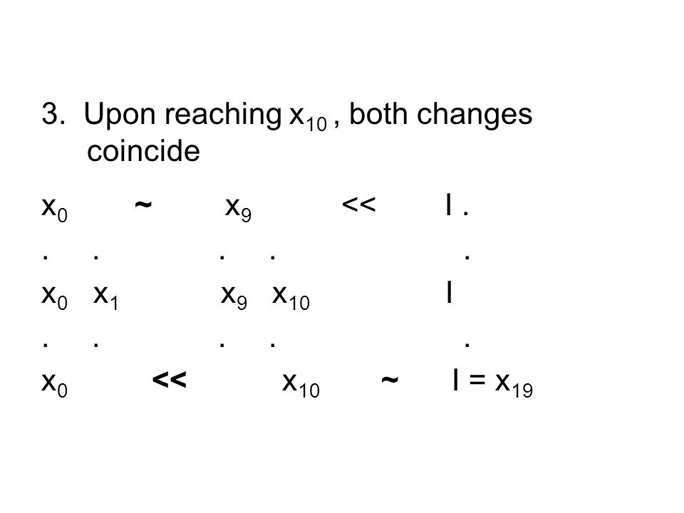 3. Upon reaching x 10, both changes coincide x 0 ~ x 9 << I......
