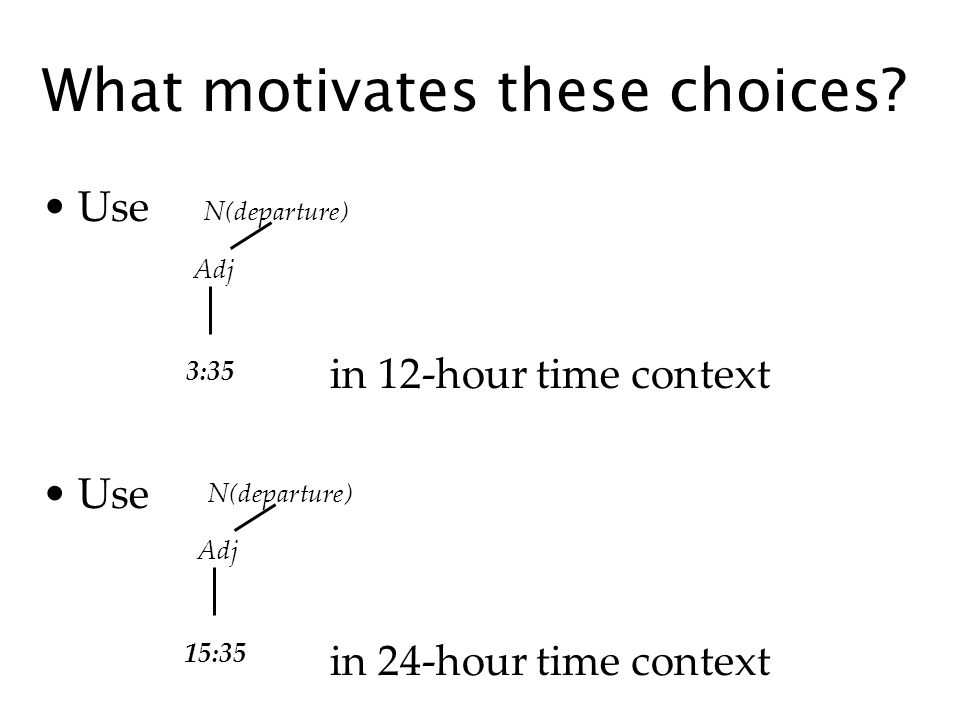 Use in 12-hour time context Use in 24-hour time context What motivates these choices? N(departure) Adj 3:35 N(departure) Adj 15:35