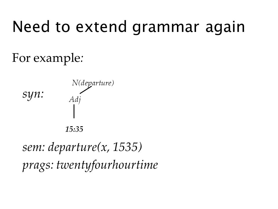 For example: syn: sem: departure(x, 1535) prags: twentyfourhourtime Need to extend grammar again N(departure) Adj 15:35