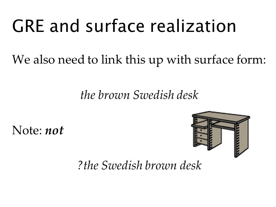 GRE and surface realization We also need to link this up with surface form: the brown Swedish desk Note: not ?the Swedish brown desk