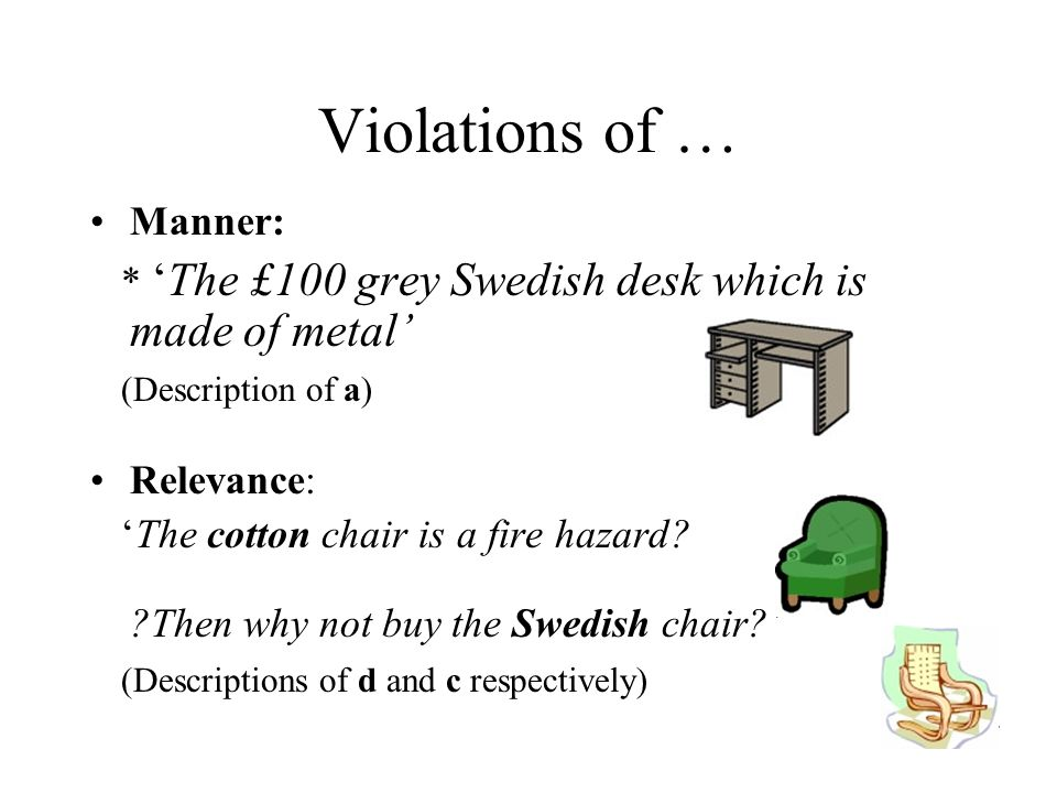 Violations of … Manner: *The £100 grey Swedish desk which is made of metal (Description of a) Relevance: The cotton chair is a fire hazard.