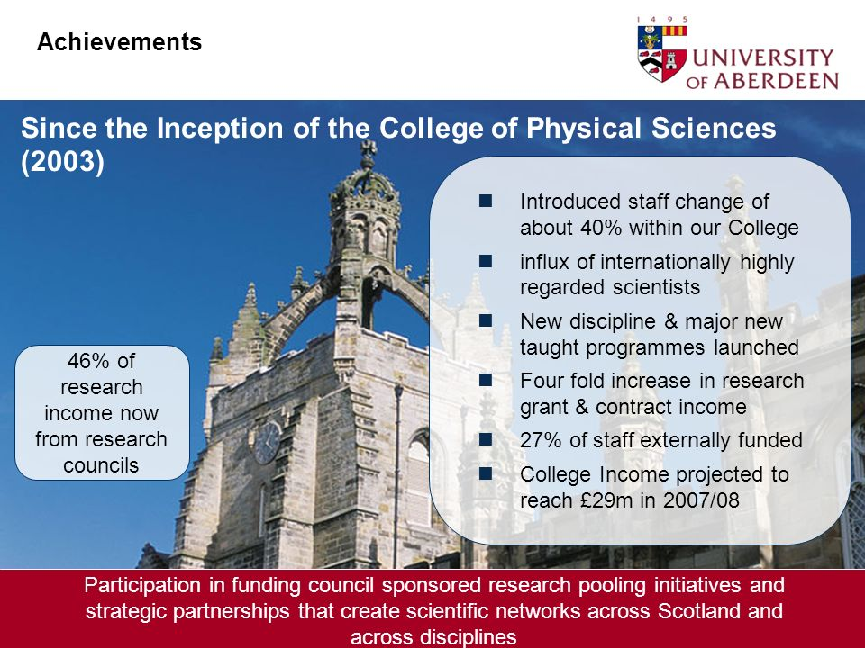 Since the Inception of the College of Physical Sciences (2003) Introduced staff change of about 40% within our College influx of internationally highly regarded scientists New discipline & major new taught programmes launched Four fold increase in research grant & contract income 27% of staff externally funded College Income projected to reach £29m in 2007/08 Achievements 46% of research income now from research councils Participation in funding council sponsored research pooling initiatives and strategic partnerships that create scientific networks across Scotland and across disciplines Achievements