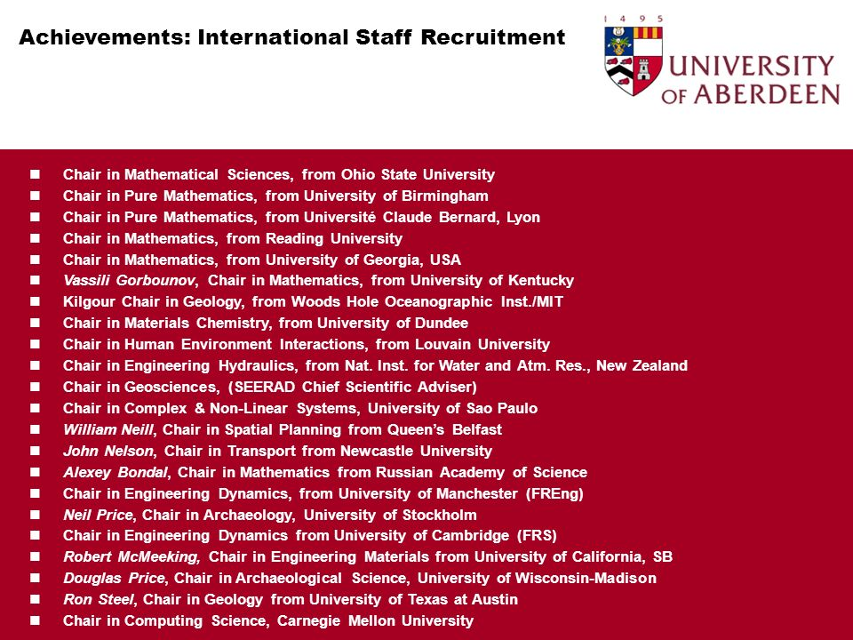 Achievements: International Staff Recruitment Appointments: Interdisciplinary Environment Chair in Mathematical Sciences, from Ohio State University Chair in Pure Mathematics, from University of Birmingham Chair in Pure Mathematics, from Université Claude Bernard, Lyon Chair in Mathematics, from Reading University Chair in Mathematics, from University of Georgia, USA Vassili Gorbounov, Chair in Mathematics, from University of Kentucky Kilgour Chair in Geology, from Woods Hole Oceanographic Inst./MIT Chair in Materials Chemistry, from University of Dundee Chair in Human Environment Interactions, from Louvain University Chair in Engineering Hydraulics, from Nat.