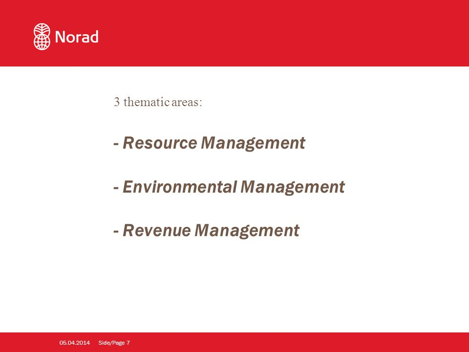 Side/Page thematic areas: - Resource Management - Environmental Management - Revenue Management