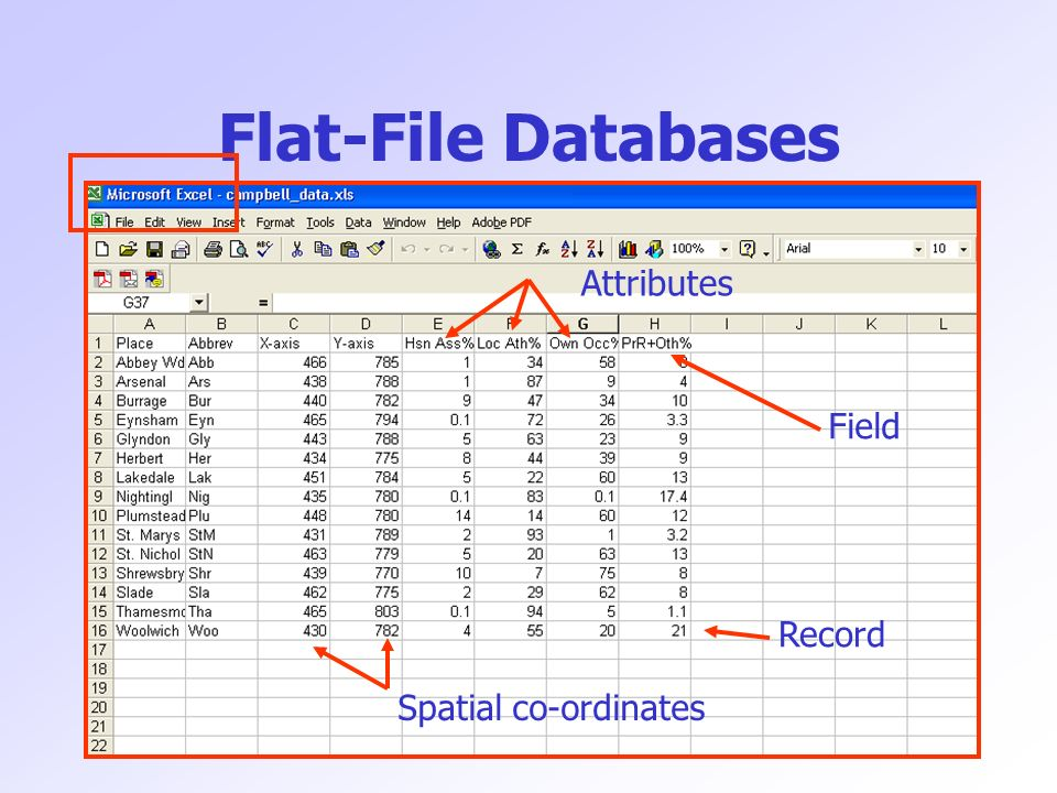 Flat-File Databases Field Record Spatial co-ordinates Attributes