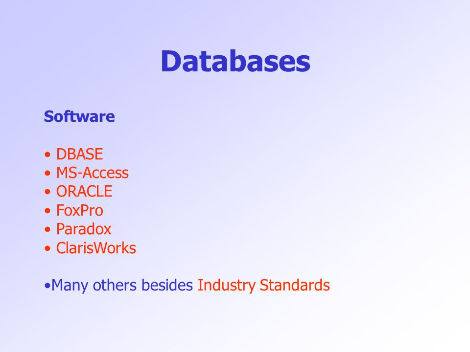 Databases Software DBASE MS-Access ORACLE FoxPro Paradox ClarisWorks Many others besides Industry Standards