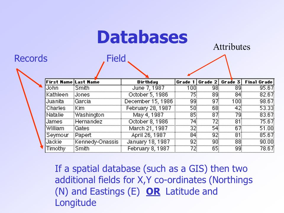 Databases RecordsField If a spatial database (such as a GIS) then two additional fields for X,Y co-ordinates (Northings (N) and Eastings (E) OR Latitude and Longitude Attributes