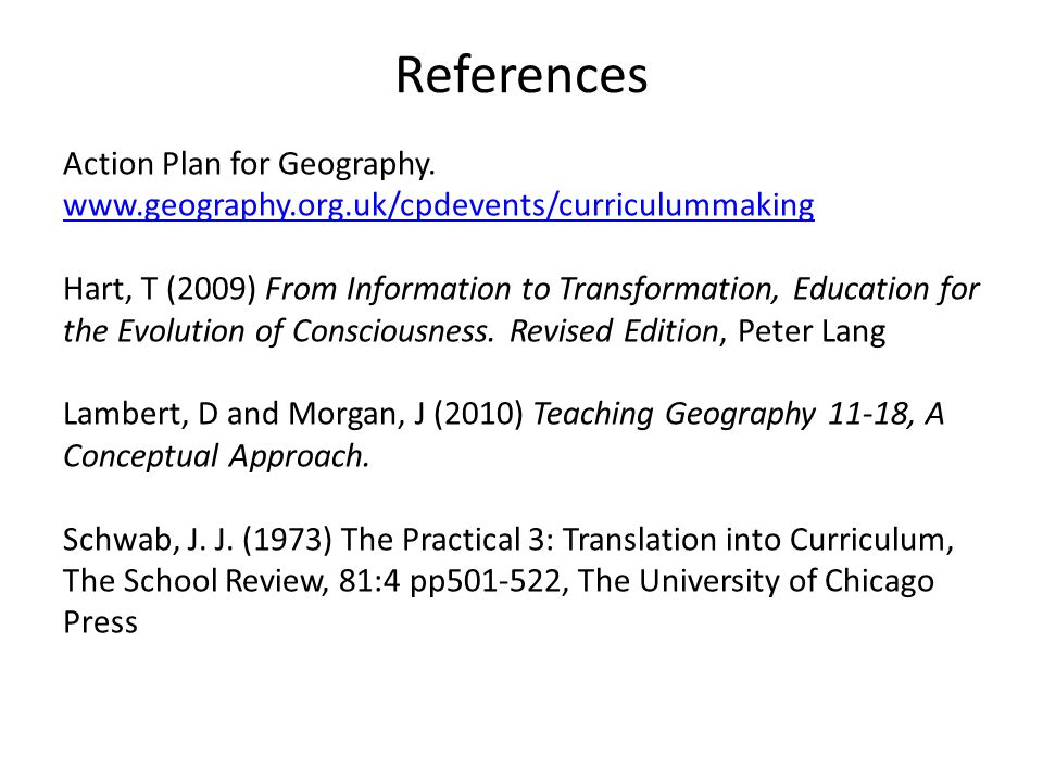 References Action Plan for Geography.