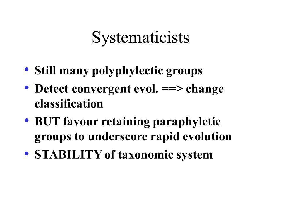 Systematicists Still many polyphylectic groups Detect convergent evol. ==> change classification BUT favour retaining paraphyletic groups to underscor