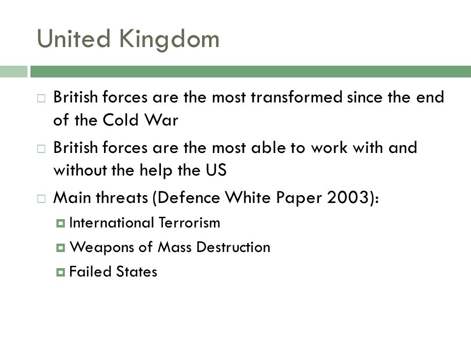 United Kingdom British forces are the most transformed since the end of the Cold War British forces are the most able to work with and without the help the US Main threats (Defence White Paper 2003): International Terrorism Weapons of Mass Destruction Failed States