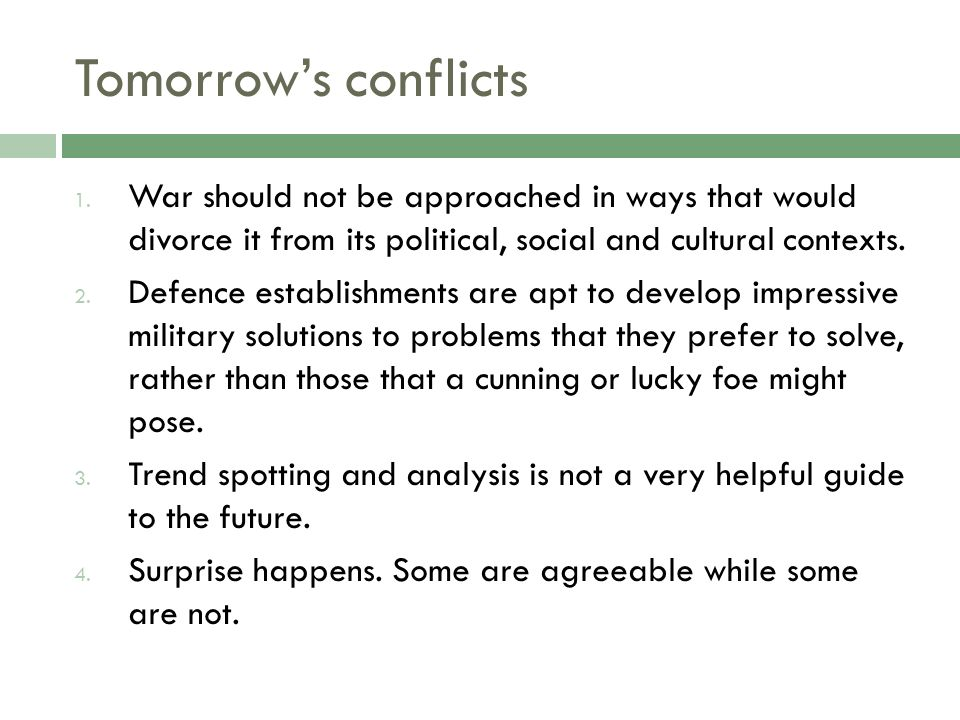 Tomorrows conflicts 1.