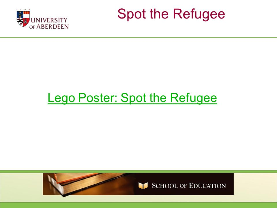 Spot the Refugee Lego Poster: Spot the Refugee