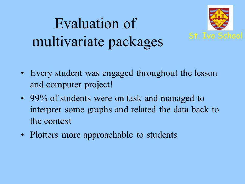 St. Ivo School Evaluation of multivariate packages Every student was engaged throughout the lesson and computer project! 99% of students were on task