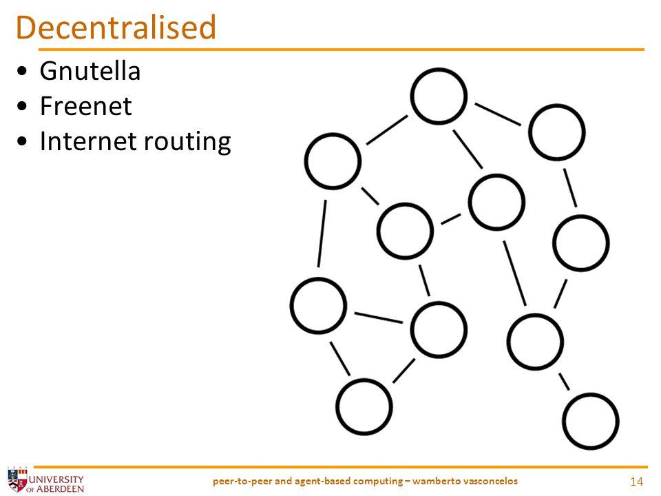Decentralised Gnutella Freenet Internet routing peer-to-peer and agent-based computing – wamberto vasconcelos 14