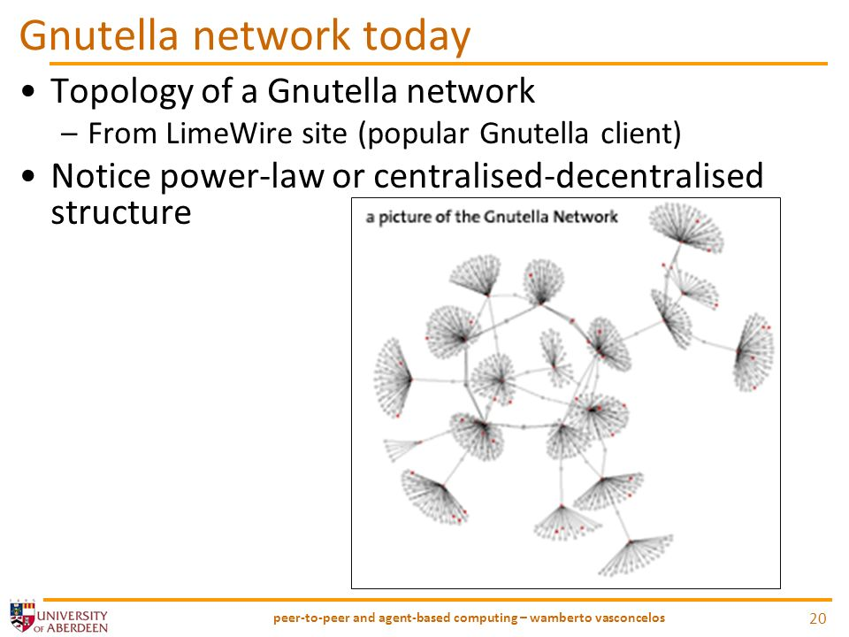 Gnutella network today Topology of a Gnutella network –From LimeWire site (popular Gnutella client) Notice power-law or centralised-decentralised structure peer-to-peer and agent-based computing – wamberto vasconcelos 20