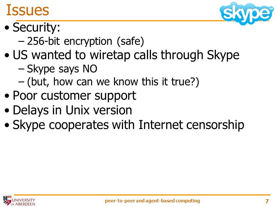 peer-to-peer and agent-based computing 8 Skype on WikiPedia http://en.wikipedia.org/wiki/Skype An Analysis of the Skype Peer-to-Peer Internet Telephony Protocol, S.