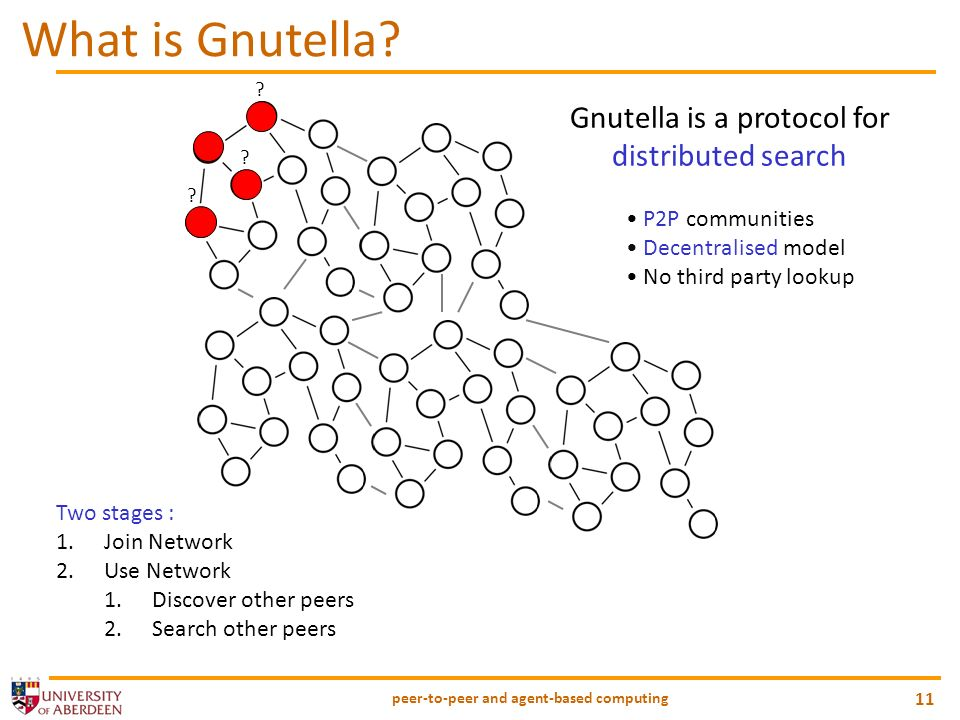 peer-to-peer and agent-based computing 11 What is Gnutella.