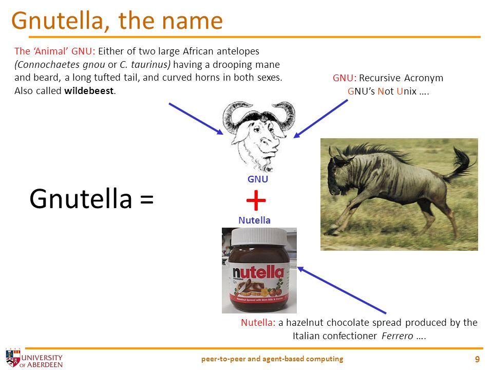 peer-to-peer and agent-based computing 10 Justin Frankel Tom Pepper + Gnullsoft NullSoft Gnutella, GNU GPL, 0.56 (Feb 2000) AOL Gnutella IRC #gnutella gnutella.nerdherd.net Open Source Developers (Bryan Mayland) Gnutella Spec The history of Gnutella