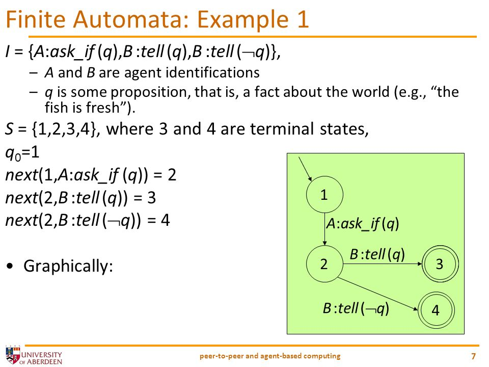 peer-to-peer and agent-based computing 8 Finite Automata: Example 2 12 B:counter(_) B:accept(_) A:propose(_) 3 4 5 A:counter(_) B:reject(_) A:accept(_) A:reject(_)