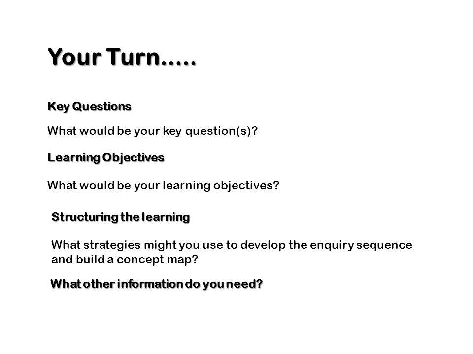 Your Turn..... Key Questions Learning Objectives What would be your learning objectives? What would be your key question(s)? Structuring the learning