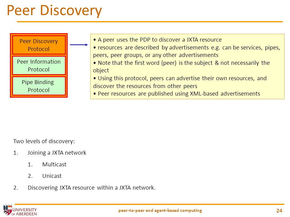 peer-to-peer and agent-based computing 24 Peer Discovery Protocol Peer Information Protocol Pipe Binding Protocol A peer uses the PDP to discover a JX