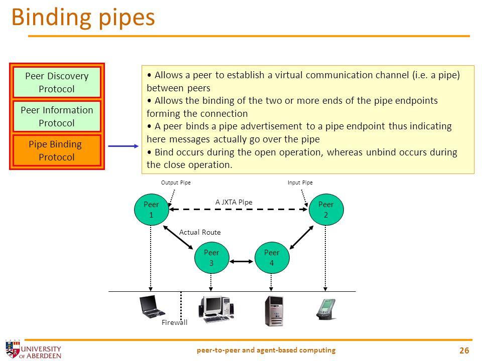 peer-to-peer and agent-based computing 26 Binding pipes Peer Discovery Protocol Peer Information Protocol Pipe Binding Protocol Allows a peer to estab