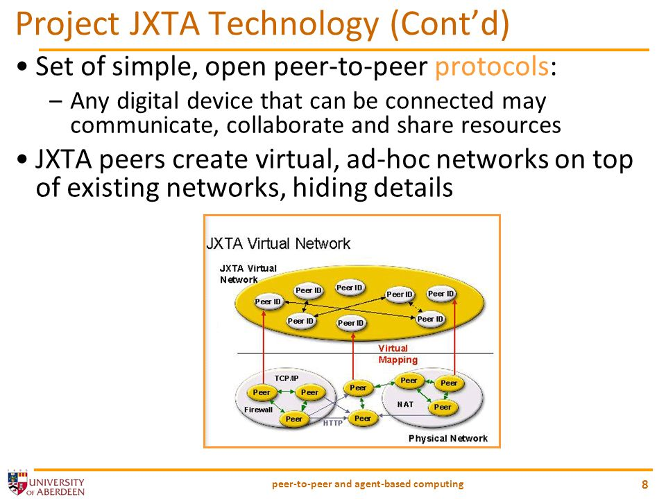 peer-to-peer and agent-based computing 8 Project JXTA Technology (Contd) Set of simple, open peer-to-peer protocols: –Any digital device that can be c