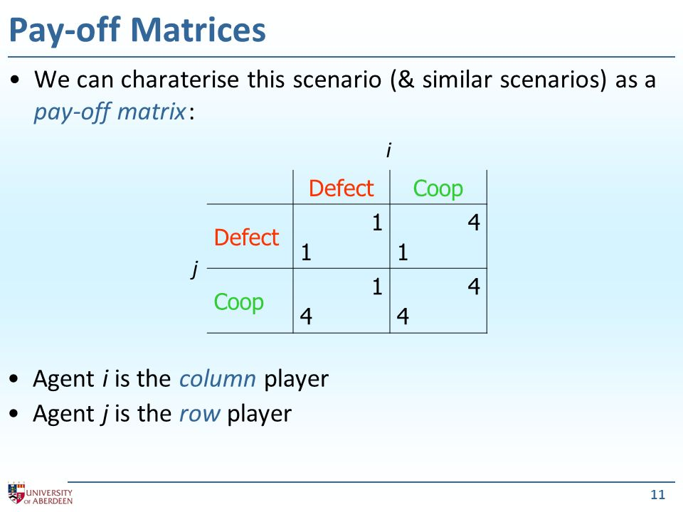 11 Pay-off Matrices We can charaterise this scenario (& similar scenarios) as a pay-off matrix : Agent i is the column player Agent j is the row playe