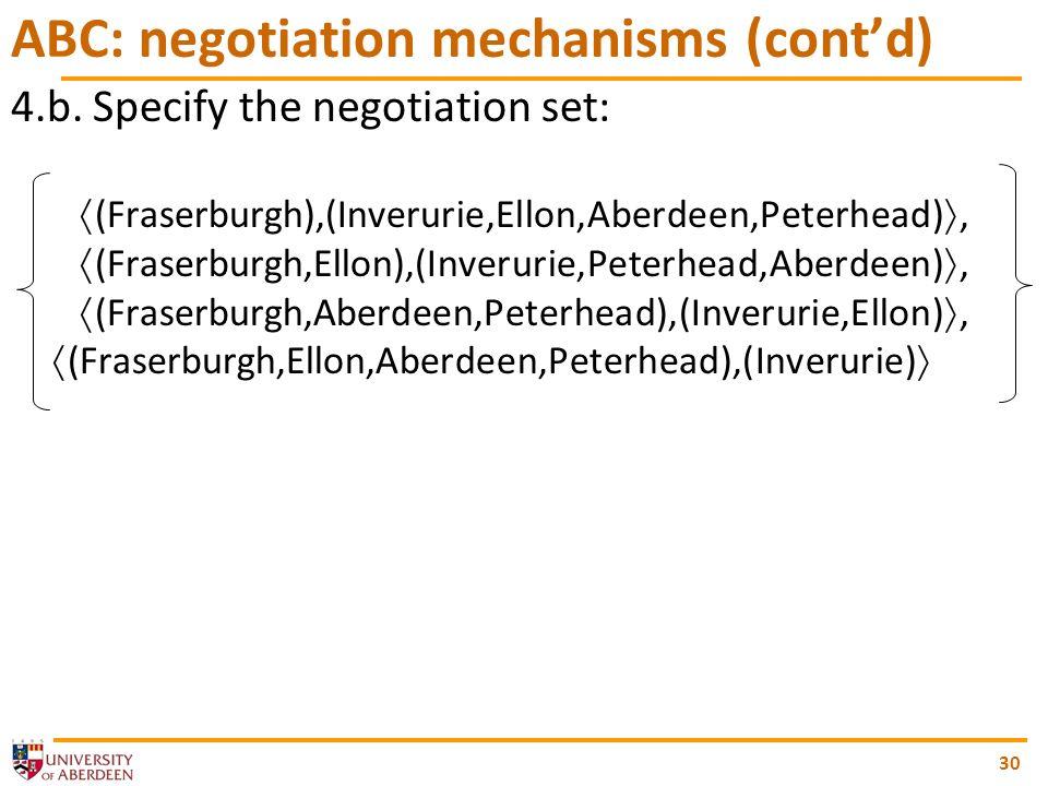 30 ABC: negotiation mechanisms (contd) 4.b.