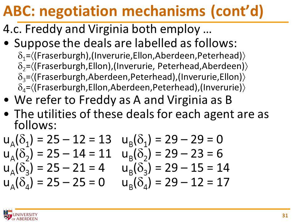 31 ABC: negotiation mechanisms (contd) 4.c.