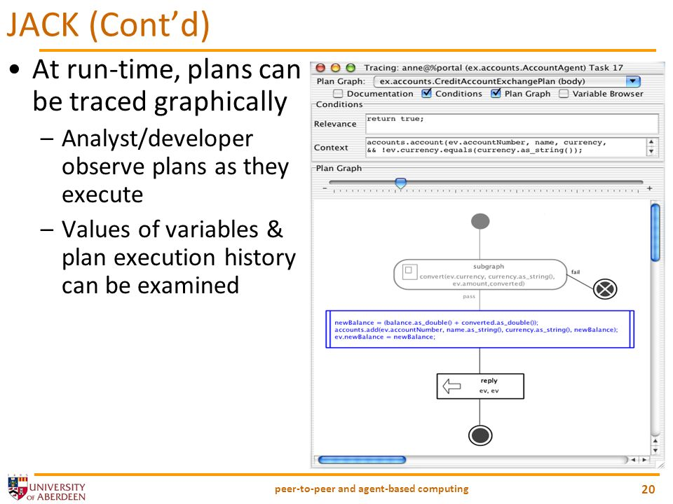 peer-to-peer and agent-based computing 20 JACK (Contd) At run-time, plans can be traced graphically –Analyst/developer observe plans as they execute –Values of variables & plan execution history can be examined