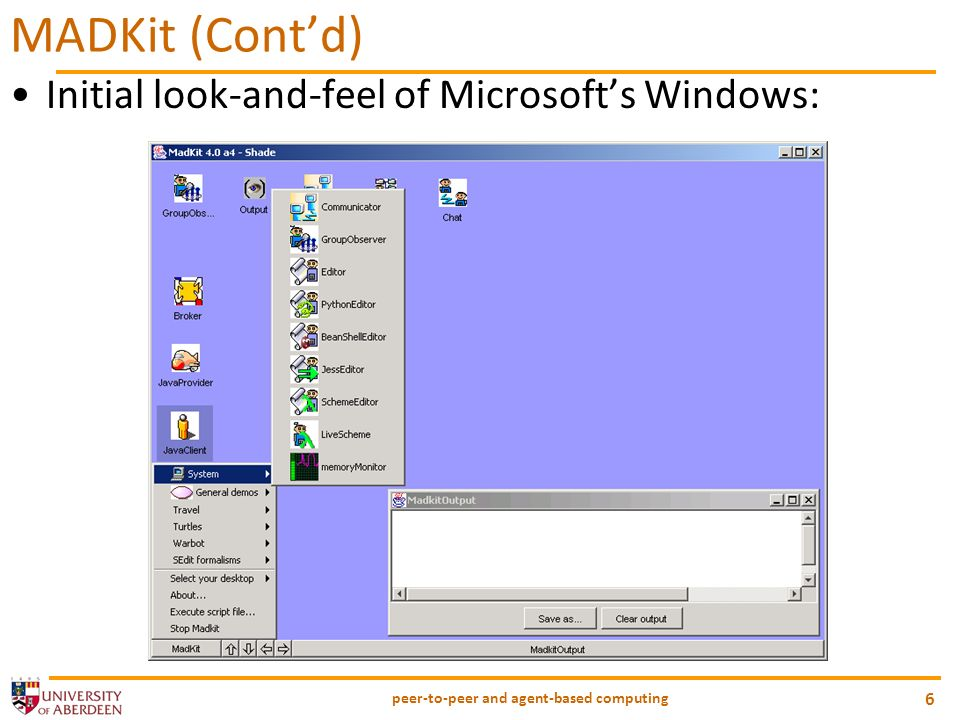 peer-to-peer and agent-based computing 6 MADKit (Contd) Initial look-and-feel of Microsofts Windows: