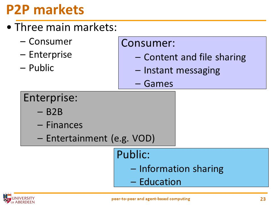 peer-to-peer and agent-based computing 23 P2P markets Three main markets: –Consumer –Enterprise –Public Consumer: –Content and file sharing –Instant messaging –Games Enterprise: –B2B –Finances –Entertainment (e.g.