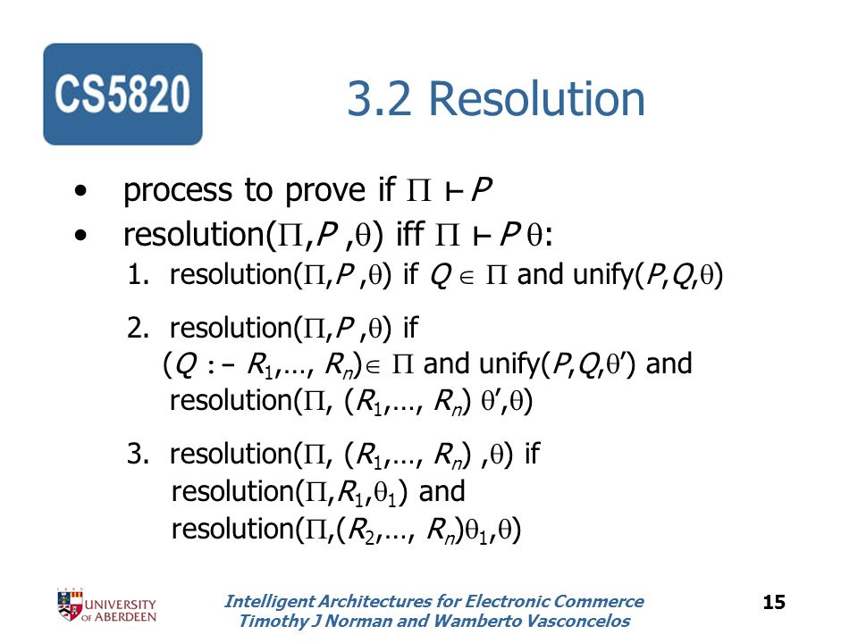 Intelligent Architectures for Electronic Commerce Timothy J Norman and Wamberto Vasconcelos 15 3.2 Resolution process to prove if P resolution(,P, ) iff P : 1.resolution(,P, ) if Q and unify(P,Q, ) 2.resolution(,P, ) if (Q :- R 1,…, R n ) and unify(P,Q, ) and resolution(, (R 1,…, R n ), ) 3.resolution(, (R 1,…, R n ), ) if resolution(,R 1, 1 ) and resolution(,(R 2,…, R n ) 1, )