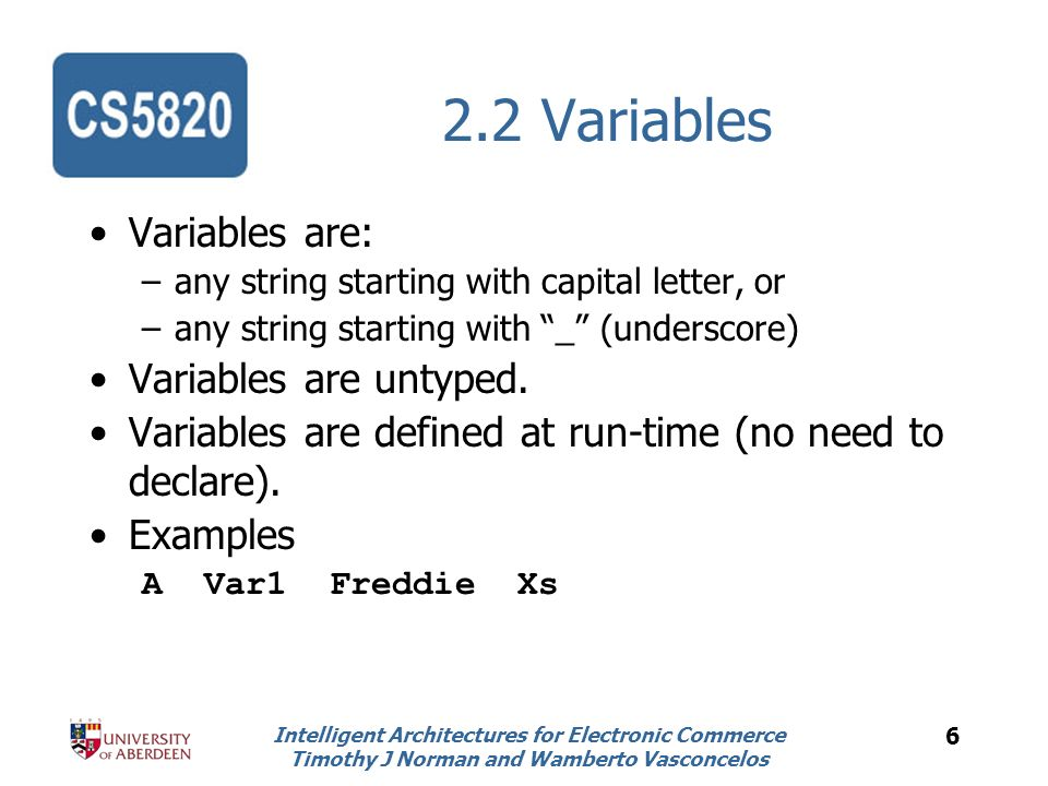 Intelligent Architectures for Electronic Commerce Timothy J Norman and Wamberto Vasconcelos 7 2.3 Terms Structure with atoms and variables.